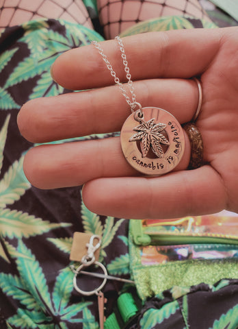Cannabis is Medicine- Hand Stamped Washer Necklace