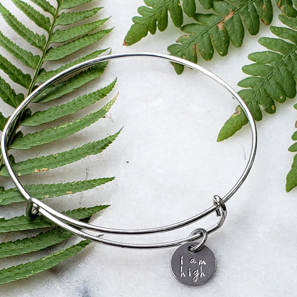 I am high- Hand Stamped Disc Charm Bracelet
