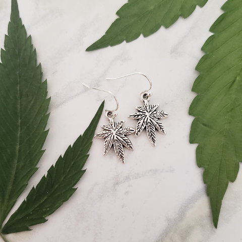 Cannabis Leaf Charm Earrings