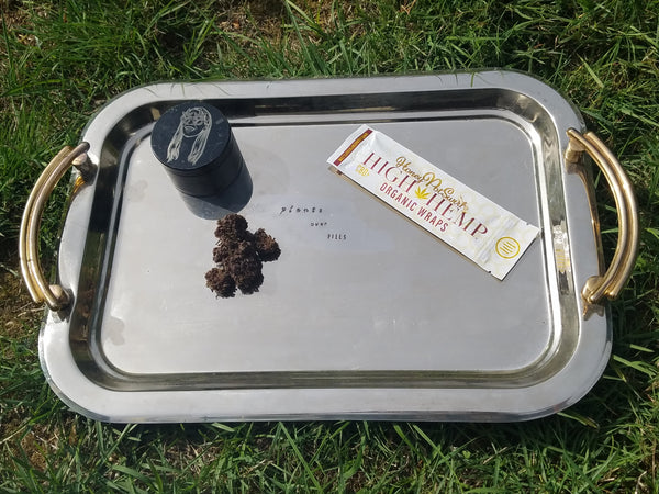 Plants over Pills Large Stamped Vintage Rolling Tray