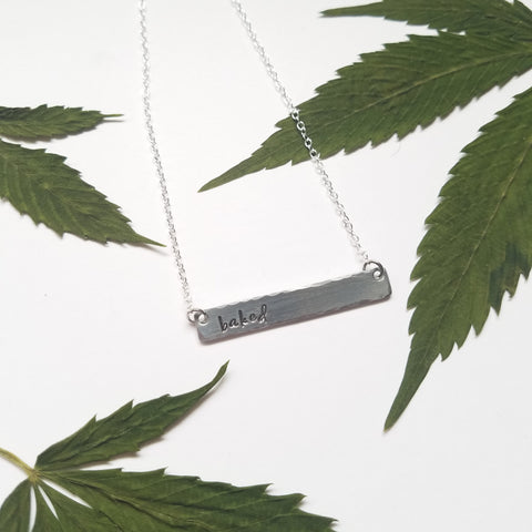 Baked stamped bar necklace