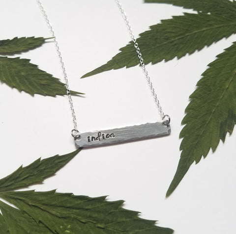 Indica stamped bar necklace