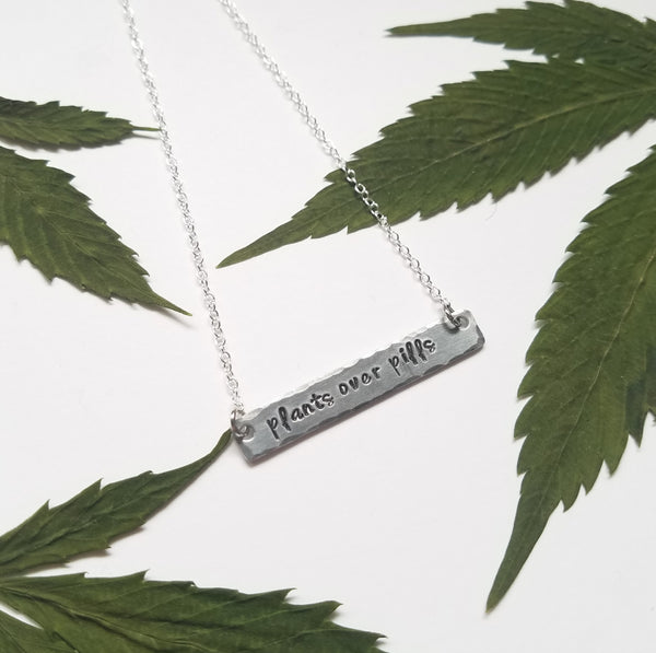Plants over Pills stamped bar necklace