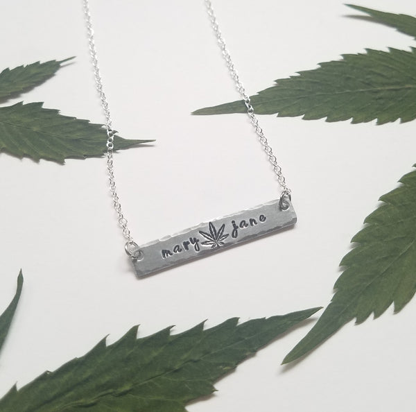 Mary Jane stamped bar necklace