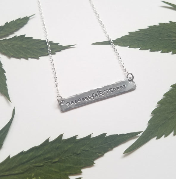 Successful Stoner stamped bar necklace