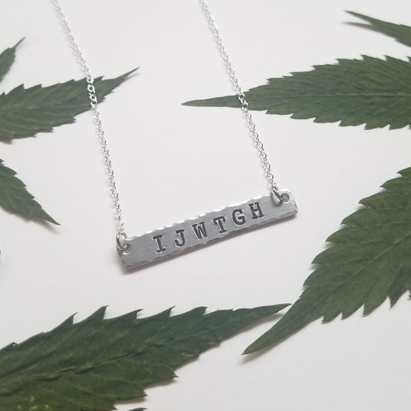 IJWTGH stamped bar necklace