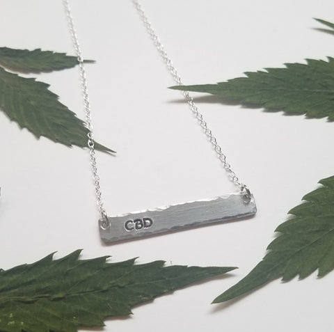 CBD stamped bar necklace