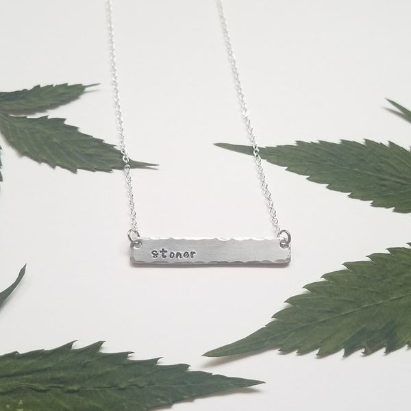 Stoner stamped bar necklace