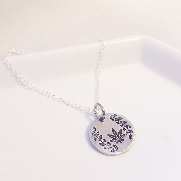 Laurel + Cannabis Leaf Stamped Necklace