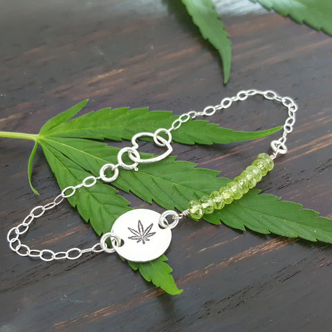 Cannabis Leaf Bracelet in Peridot and Sterling Silver