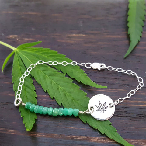 Cannabis Leaf Bracelet in Emerald and Sterling Silver