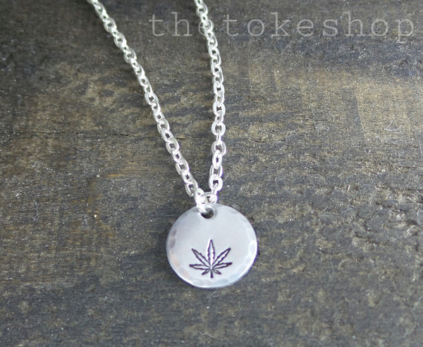 Cannabis Leaf Hand Stamped Disc Necklace by The Toke Shop