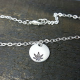 Cannabis Leaf Hand Stamped Aluminum Disc Anklet or Bracelet by The Toke Shop