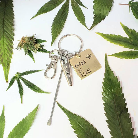 Cannabigerol CBG Stamped Keychain with Smoking Tools