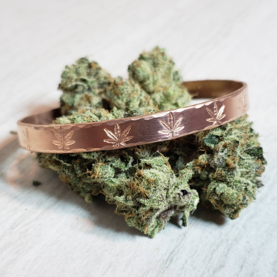 Cannabis Patterned Cuff Bracelet in Copper, Hand Stamped Cannabis Jewelr