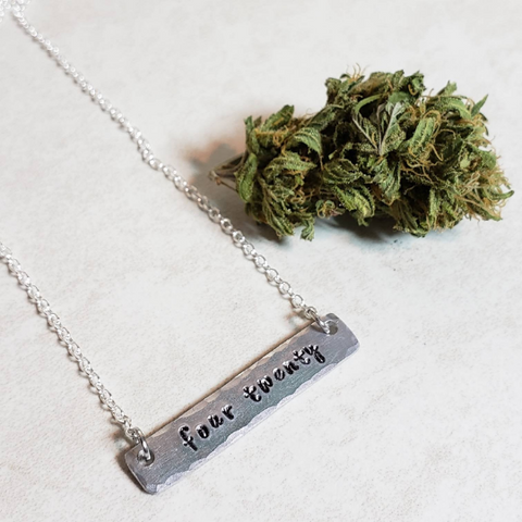 four twenty hand stamped bar necklace