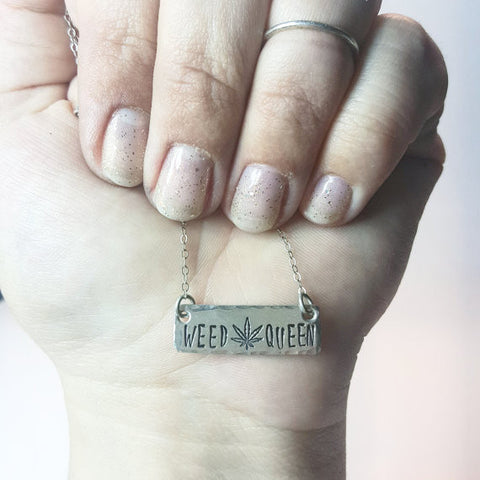 Weed queen sterling silver hand stamped bar necklace