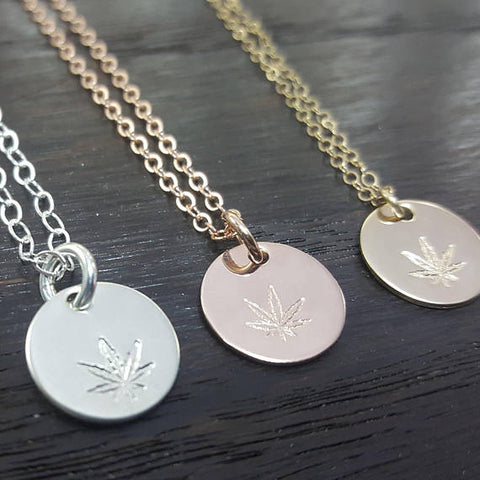 cannabis leaf hand stamped disc necklace- in sterling silver or gold filled, Handmade by The Toke Shop