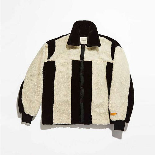 THE NEW COUNTY BLACK AND CREAM FAUX FUR COACH JACKET