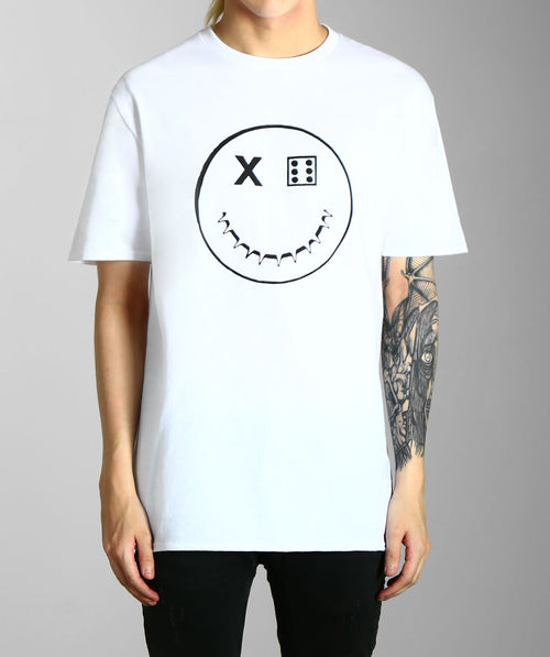 Paradice Smiley Print White Graphic Tee