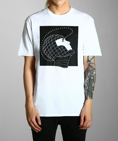white graphic tee