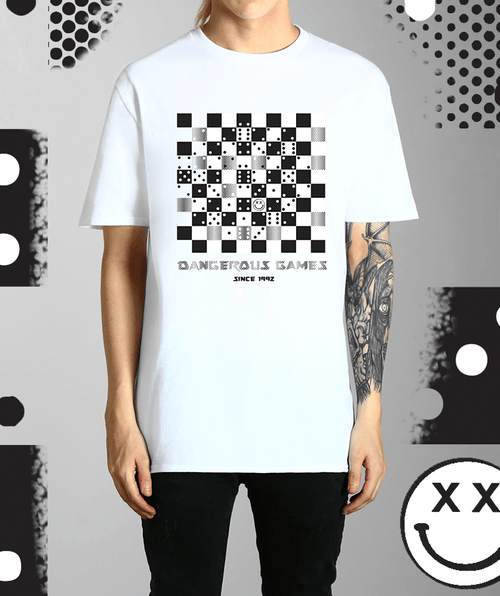 Paradice Dangerous Games Since 1992 White Graphic Tee