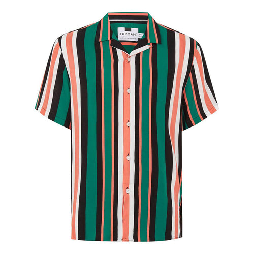 GREEN AND ORANGE STROPE REVERE SHIRT
