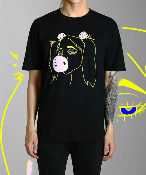 Paradice Lazer Girl Black Graphic Tee