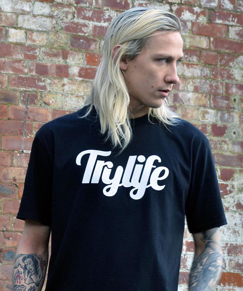 Trylife Logo Graphic Black Tee