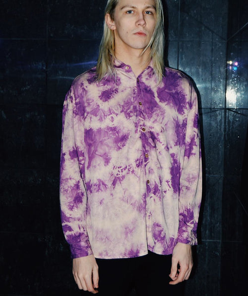 Paradice Marble Pink Purple Tie Dye Long Sleeve Shirt