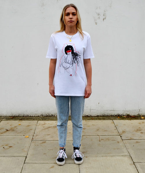 Paradice Womens Techno Bitch White Graphic Tee