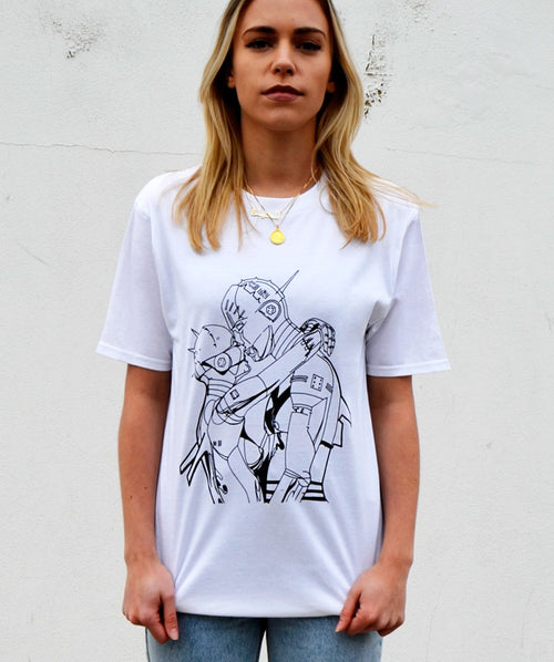 Paradice Womens Techno Lovers White Graphic Tee