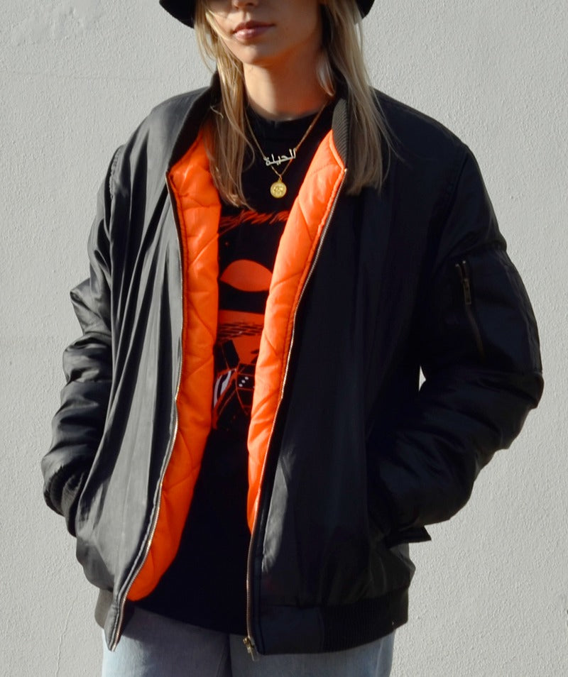 Paradice Womens Black Orange Bomber Puffer Coat