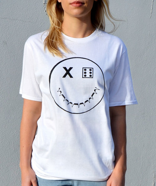 Paradice Womens Smiley Print White Graphic Tee