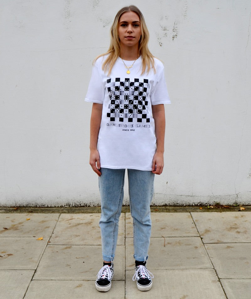 Paradice Womens Dangerous Games Since 1992 White Graphic Tee