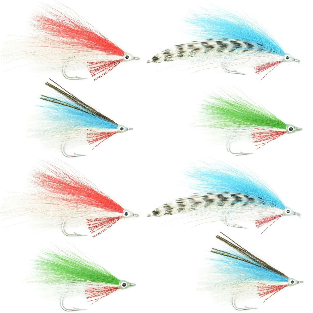 Lefty's Deceiver Fly Fishing Flies Collection - Assortment of 8 Saltwater and Bass Flies - Hook Size 1/0