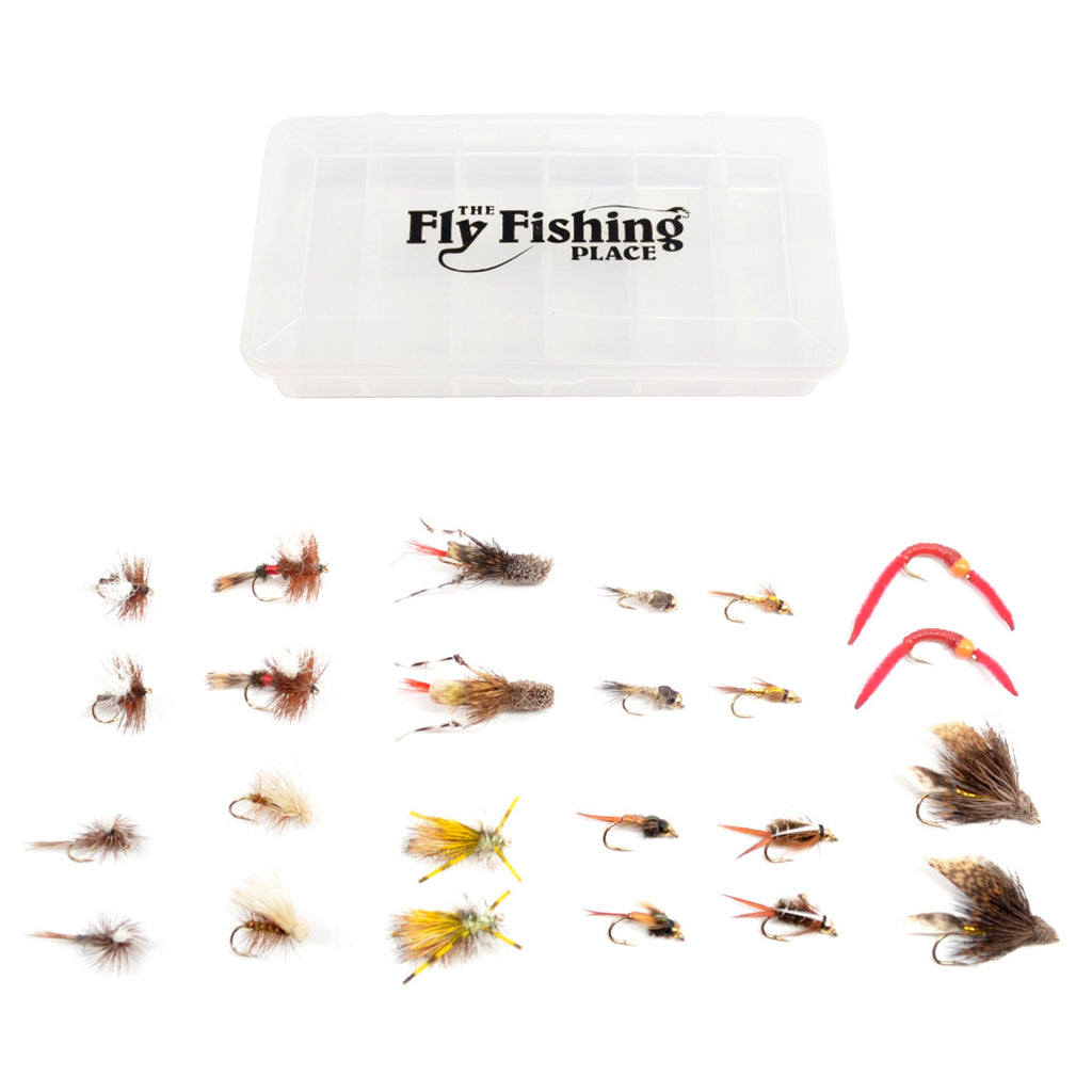 Trout Flies Assortment - 24 Flies for Trout Fly Fishing with Fly Box - Essential Dry and Wet Fly Selection for All Trout Fly Fishing