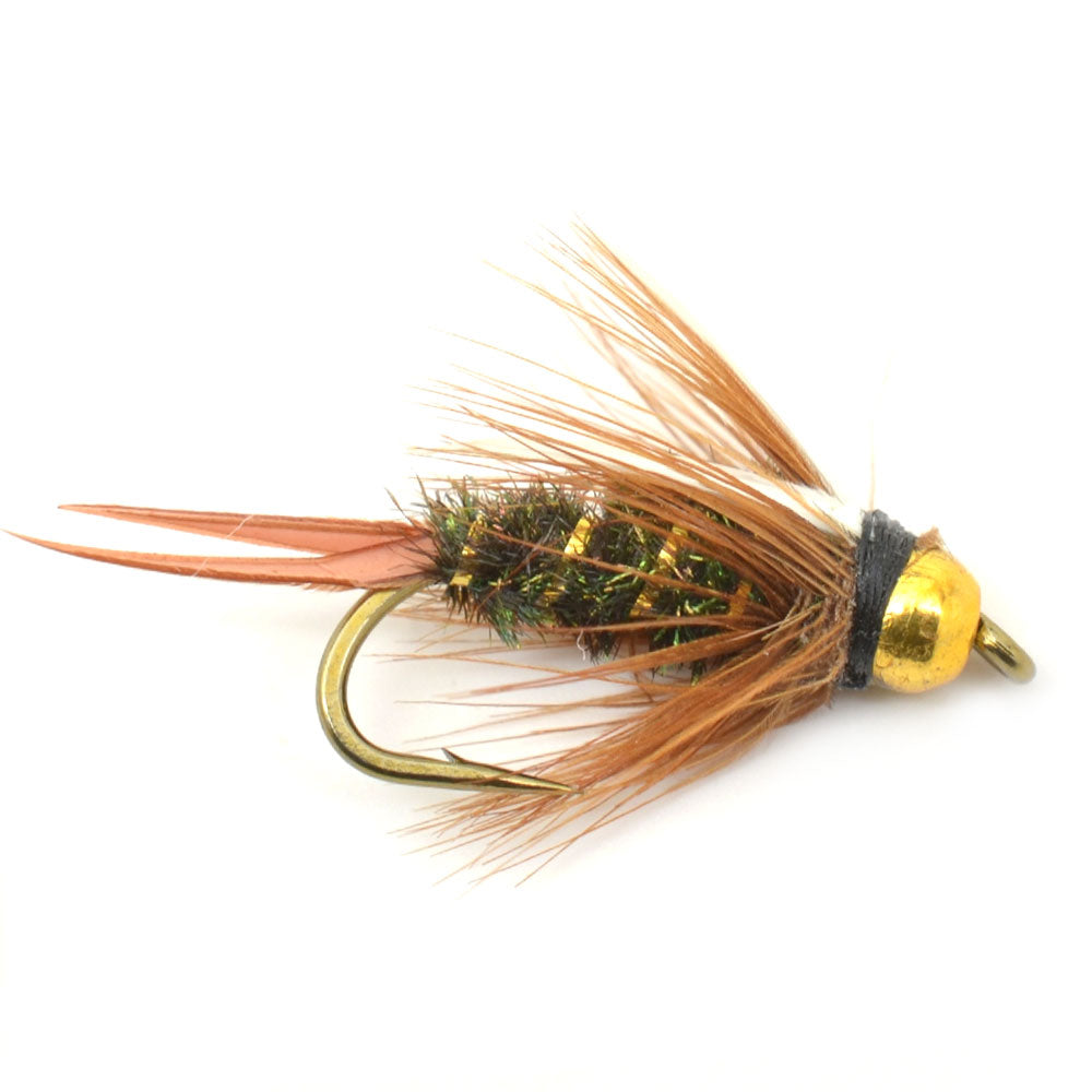Fly Fishing Flies - Bead Head Prince Nymph - Set of 6 Wet Trout Flies