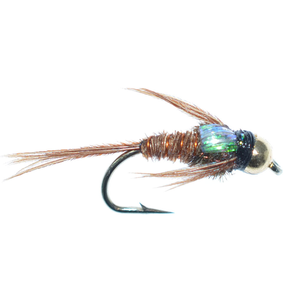 Bead Head Flashback Pheasant Tail Nymph Fly Fishing Flies Hook Size 14