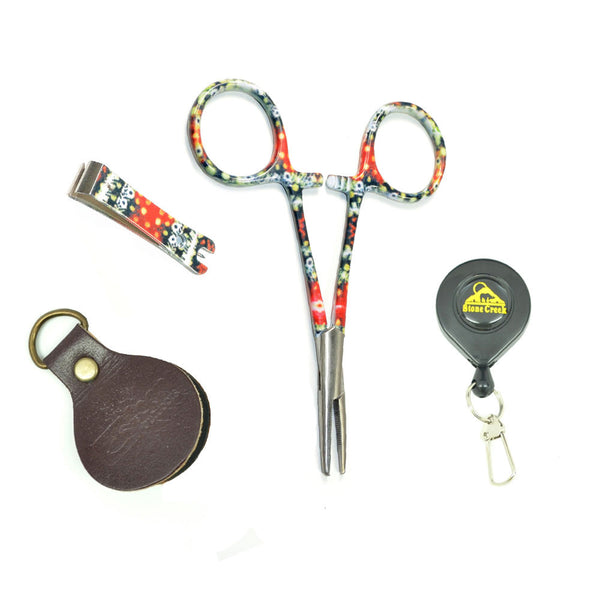 Fly Fishing Vest Tool Kit - Zinger with Brook Trout Print Fishing Nippers and Forceps Straightener Combo