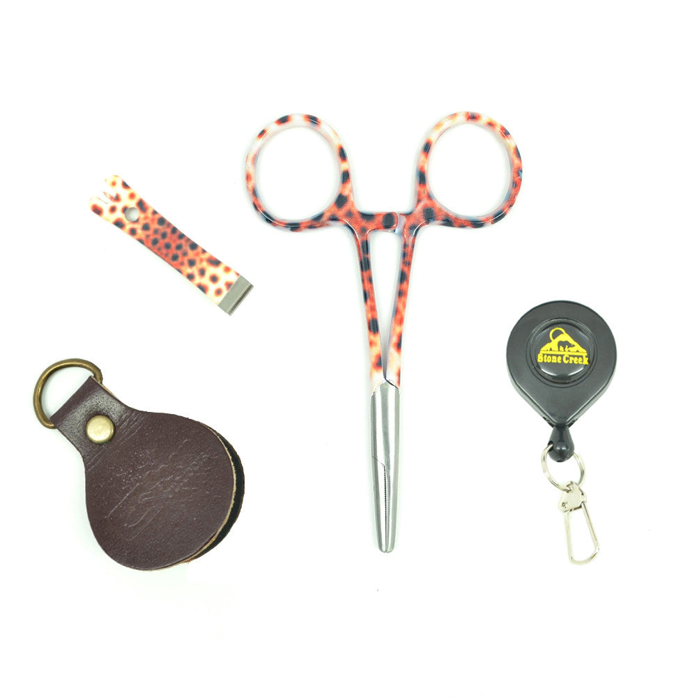 Fly Fishing Vest Tool Kit - Zinger with Brown Trout Print Fishing Nippers and Forceps Leader Straightener Combo