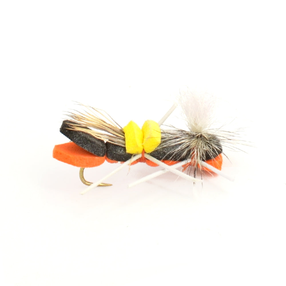 Parachute Chernobyl Ant Black Orange Foam Body Grasshopper Fly - Hook Size 10