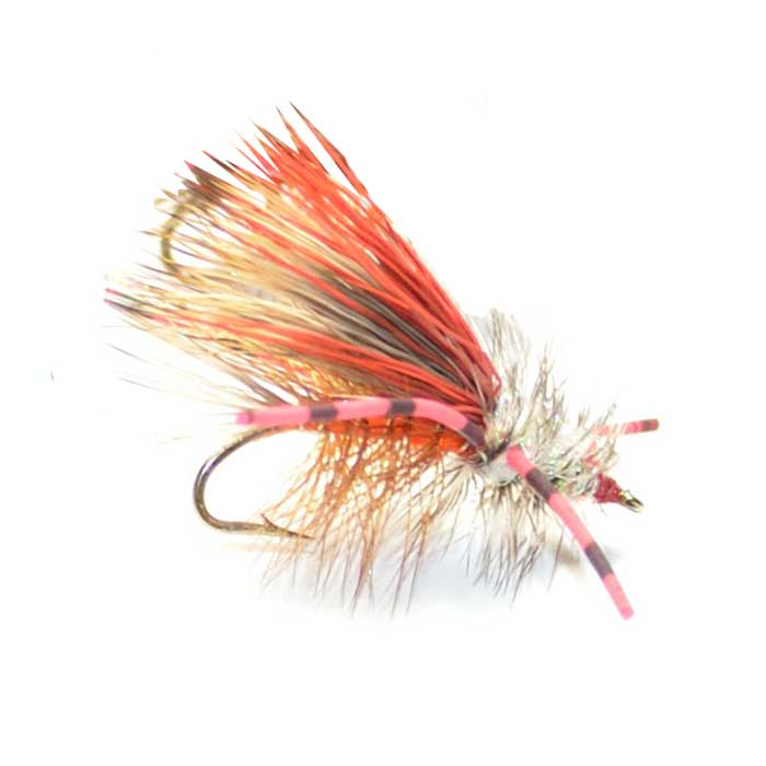 Kaufmann's Orange Crystal Stimulator Rubber Legs Dry Fly - Hook Size 14