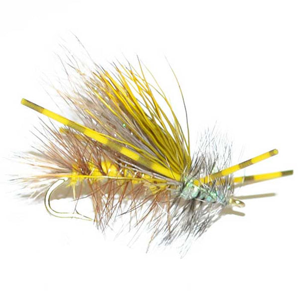 Kaufmann's Yellow Crystal Stimulator Rubber Legs Dry Fly - Hook Size 12