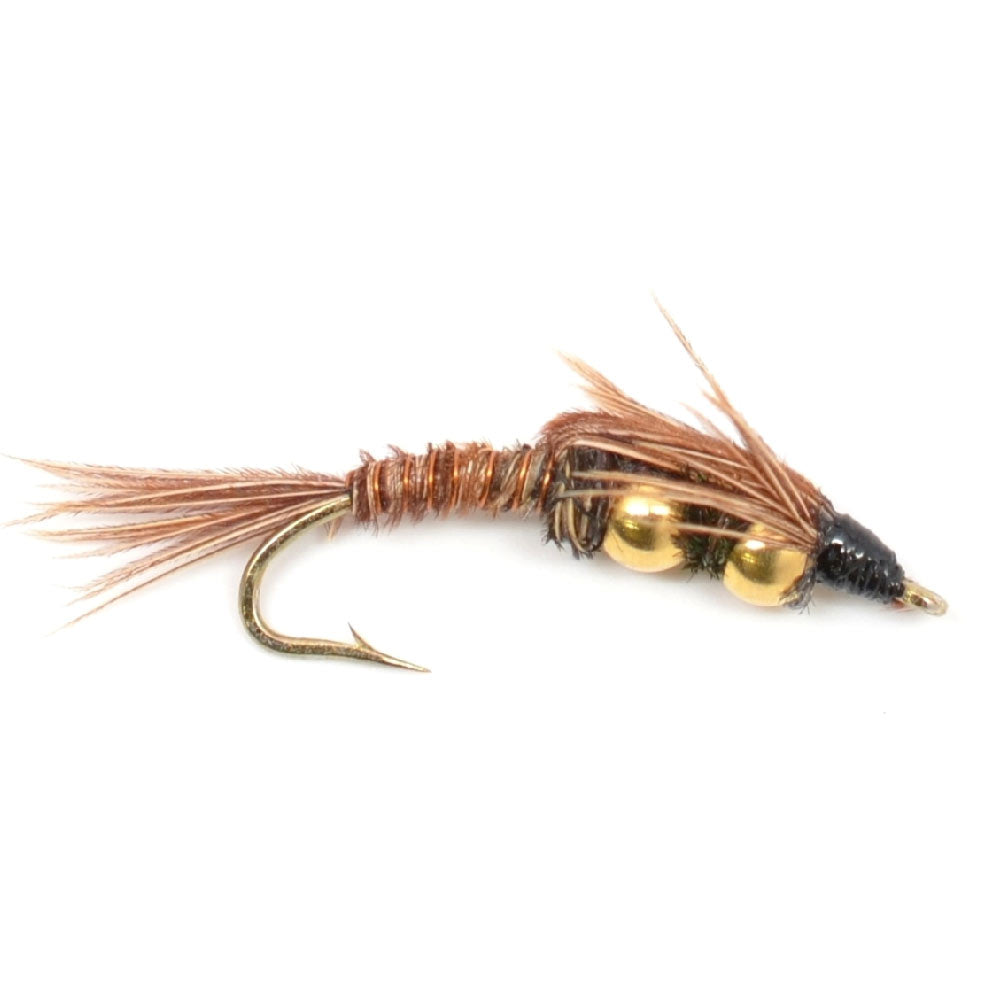 Double Bead Pheasant Tail Nymph Fly Fishing Flies Hook Size 14