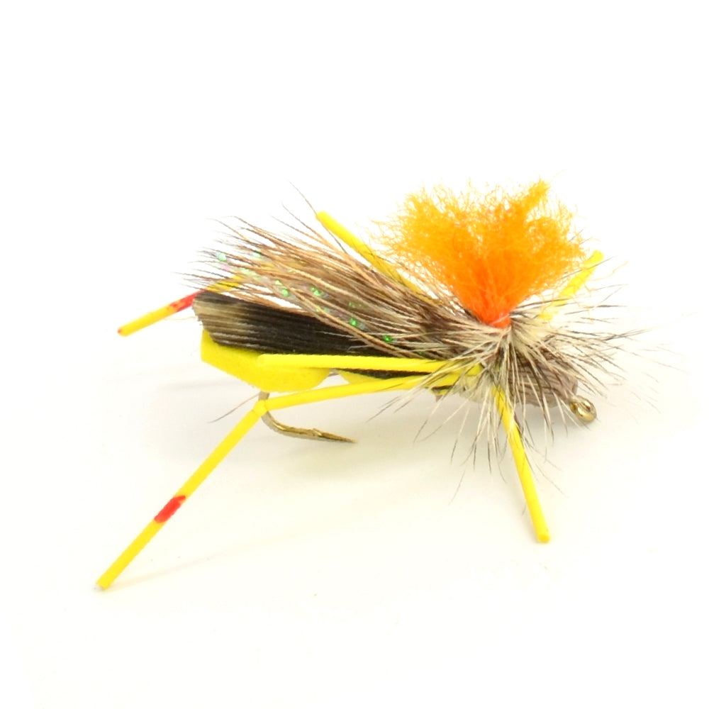 Trout Fly Assortment - High Visibility Feth Grasshopper Dry Fly Collection 1 Dozen Flies - Foam Body Hopper Flies - Size 10