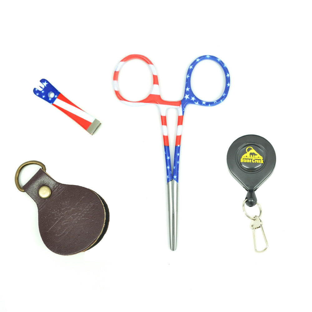 Fly Fishing Vest Tool Kit - Zinger with Stars/Stripes Fishing Nippers and Forceps Leader Straightener Combo