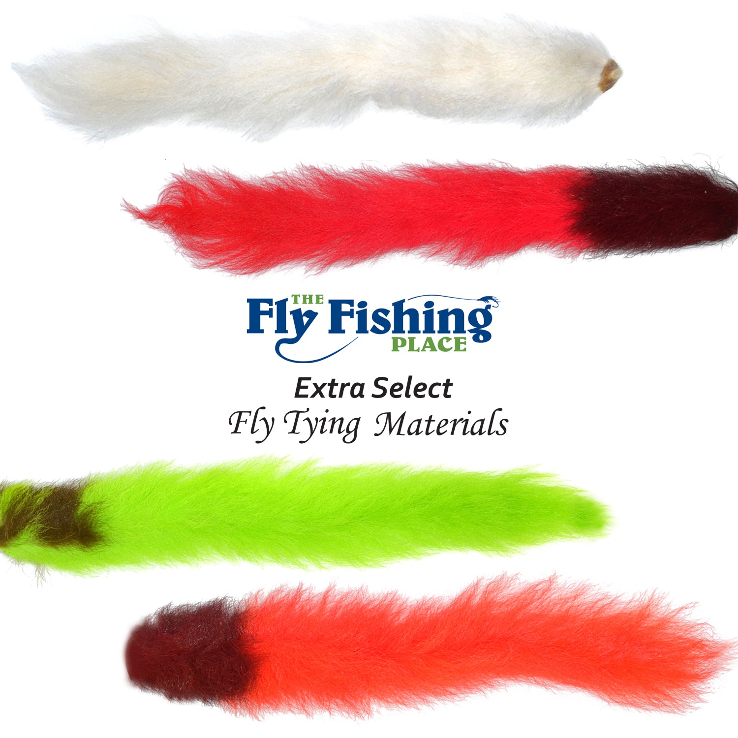 Select Grade Calf Tails - Kiptails - Master Pack - 4 Fluorescent Colors - White Fire Orange Chartreuse Red