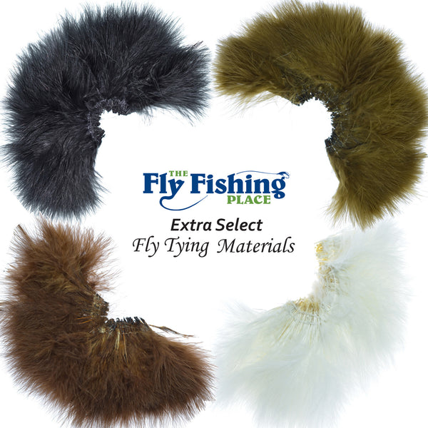 Select Strung Long Spey Marabou Master Pack - 4 Colors - White Dark Brown Sculpin Olive Black