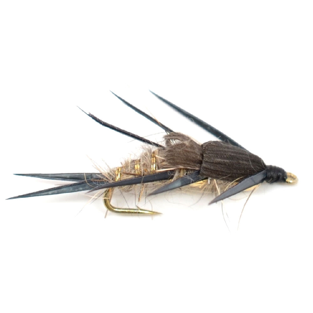 Double Bead Black Biot Legs Gold Ribbed Hare's Ear Nymph Fly Fishing Flies Hook Size 16